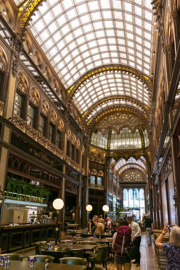 Budapest, Hungary/Europe; 03/07/2019: Interior of the famous and beautiful Paris Courtyard passage Parizsi Udvar stock images