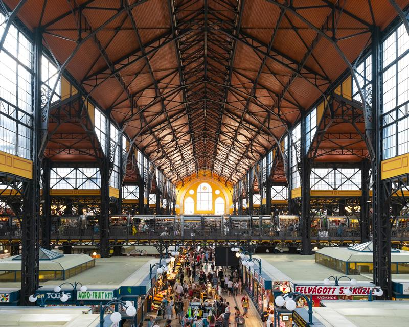 Budapest, Hungary/Europe; 03/07/2019: Interior of Great Market Hall, the largest and oldest market in Budapest royalty free stock photo