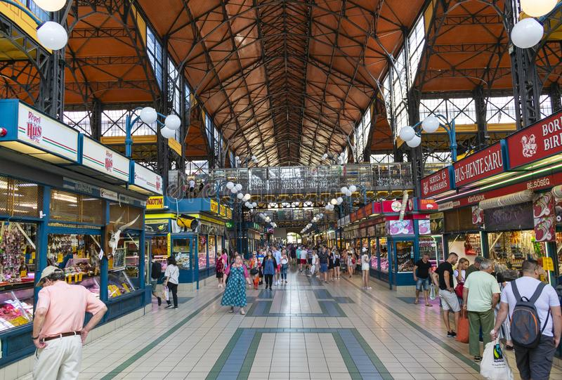 Budapest, Hungary/Europe; 06/07/2019: People shopping in the famous Great Market Hall, the largest and oldest market in Budapest, royalty free stock image