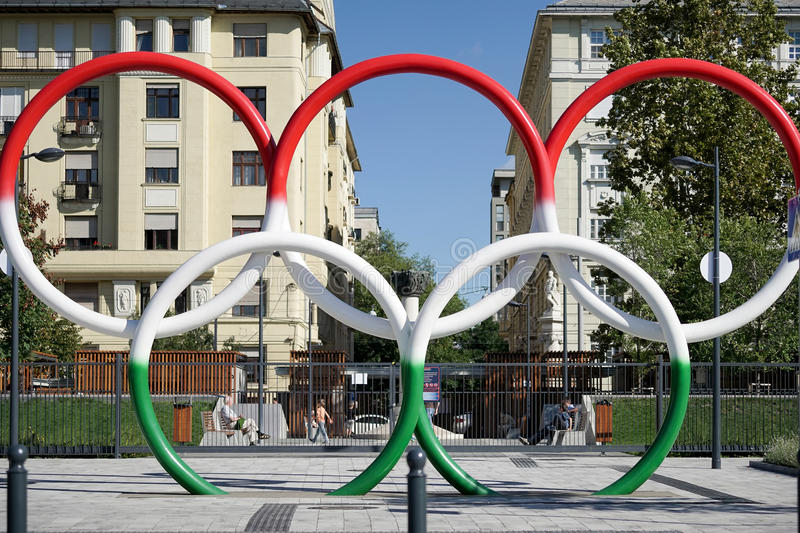 BUDAPEST, HUNGARY/EUROPE - SEPTEMBER 21 : Olympic rings in Hungarian colours in Budapest Hungary on September. 21, 2014. Unidentified people stock photo