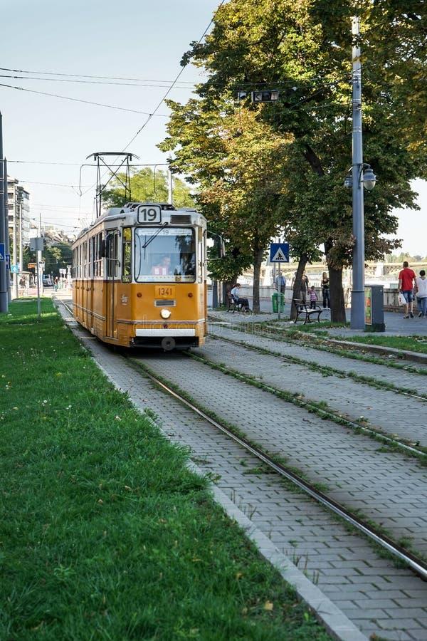 BUDAPEST, HUNGARY/EUROPE - 21. SEPTEMBER: Tram in Budapest Hunga lizenzfreie stockbilder
