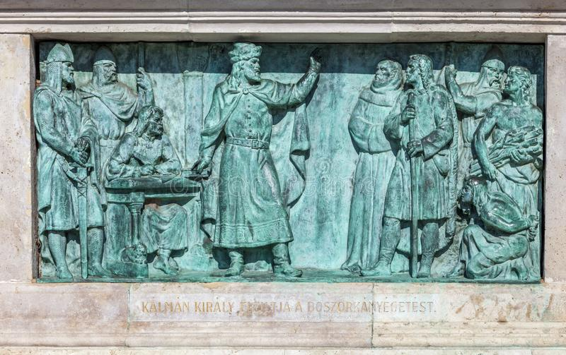 Budapest, HUNGARY - FEBRUARY 15, 2015 - Bronze bas-relief of memorial in Heroes square stock photography