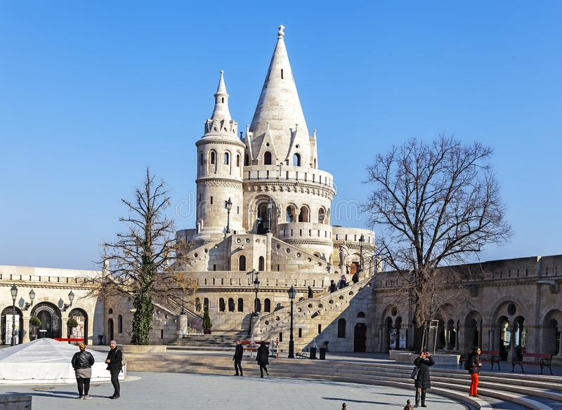 Budapest, HUNGARY - FEBRUARY 15, 2015 - Fishermans bastion in Budapest, Hungary stock photography