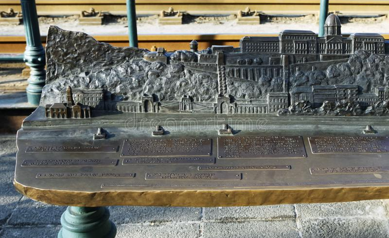 Budapest, HUNGARY - FEBRUARY 15, 2015 - Relief panorama of Budapest with descriptions in Braille for blind people. Budapest, HUNGARY - FEBRUARY 15, 2015 - Relief stock image