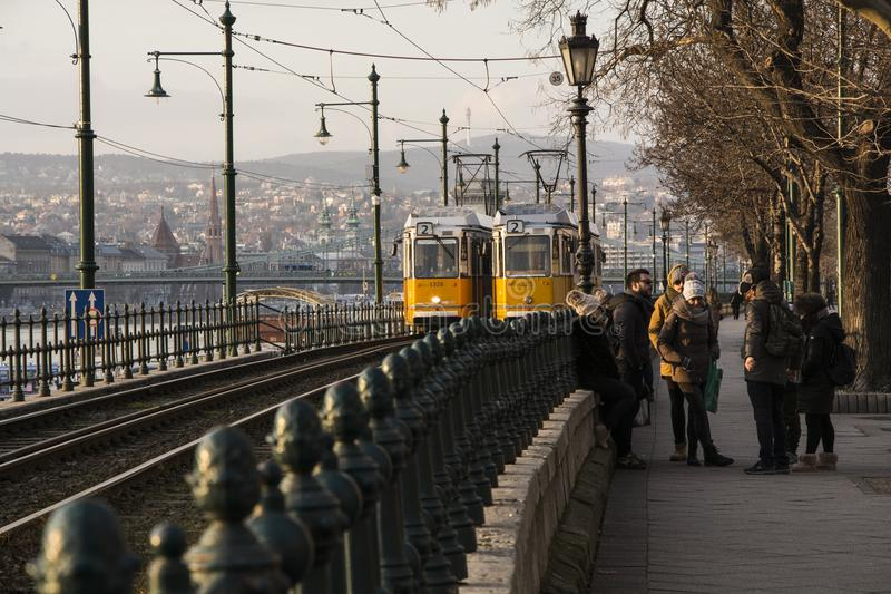 Two Trams Passing stock photos
