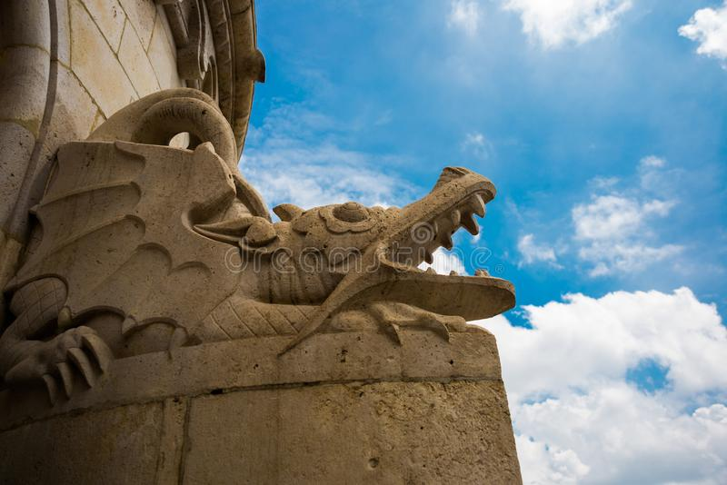 Budapest, Hungary: Fisherman Bastion. The sculpture of the dragon. Beautiful view of one of the main attractions of the old town stock photo
