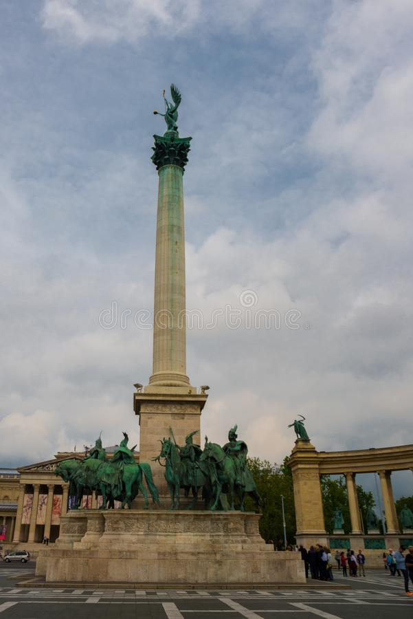 Budapest, Hungary. Heroes` Square, Hosok Tere or Millennium Monument, major attraction of city, with 36 m high Corinthian column royalty free stock photos