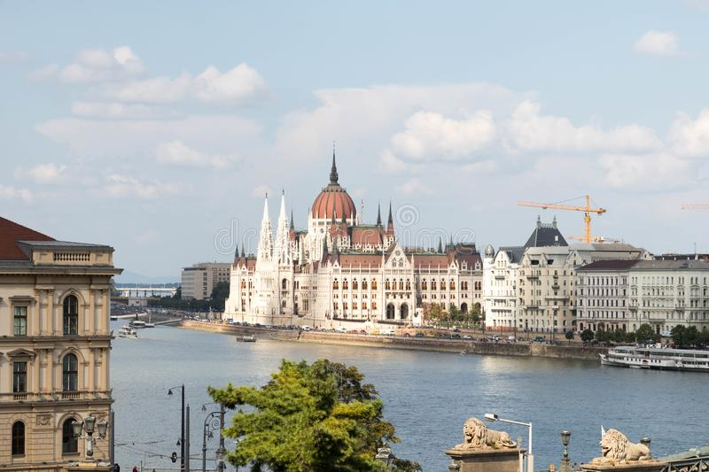 Budapest/Hungary-09.09.18 : Hungarian buildings Parliament Danube river stock photos