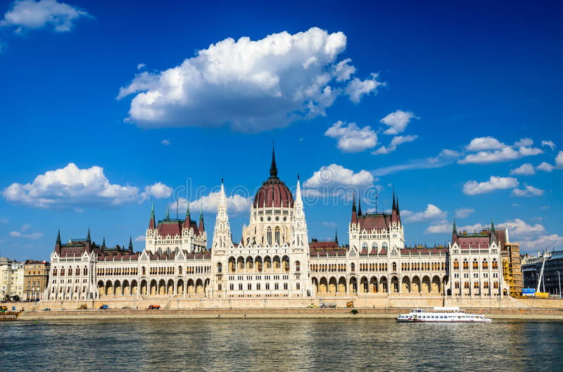 Budapest, Hungary. Hungarian Parliament building, Orszaghaz, is the seat of the National Assembly of Hungary, one of Europe's oldest legislative buildings, a royalty free stock image