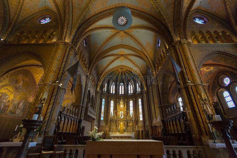Chancel and altar of Matthias Church, Church of Our Lady of Buda, in Budapest, Hungary royalty free stock photo