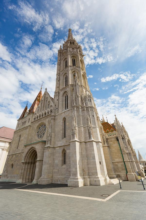 Exterior of Matthias Church, Church of Our Lady of Buda, in Budapest, Hungary stock photos
