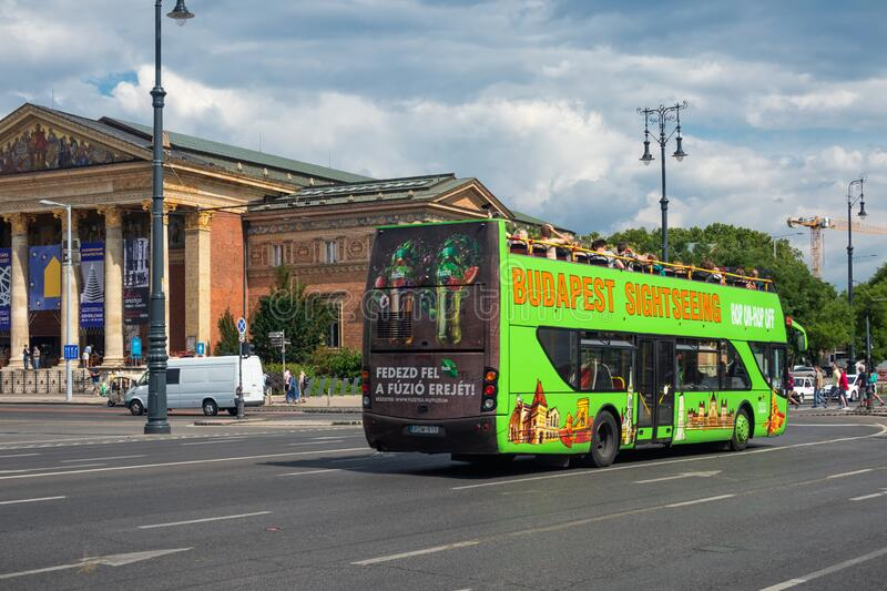 Sightseeing bus at Heroes square in Budapest, Hungary royalty free stock image