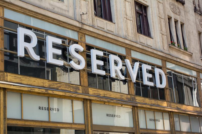 BUDAPEST, HUNGARY - JULY 5, 2018: Reserved store at Vaci shopping street. Reserved is a Polish clothing store chain. royalty free stock photo