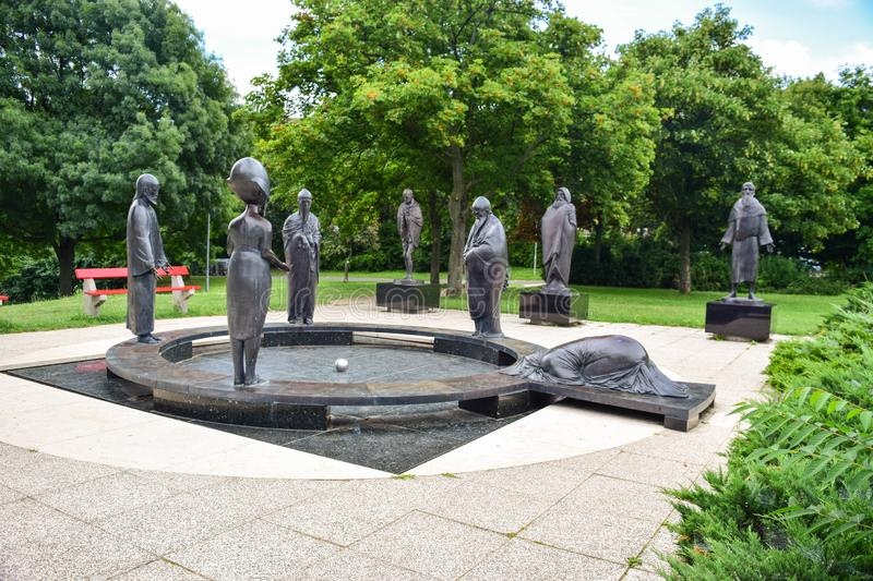 Garden of Philosophy, Budapest. Budapest, Hungary - July 4, 2018: The sculptural composition `Philosophical Garden`, located on Mount Gellert royalty free stock photography