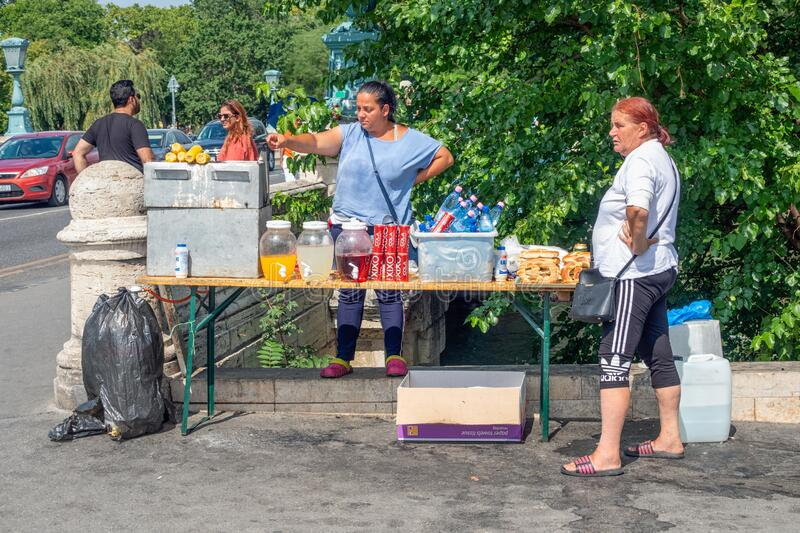 Street vendor with drinks and snacks near Heroes Square Budapest stock photo