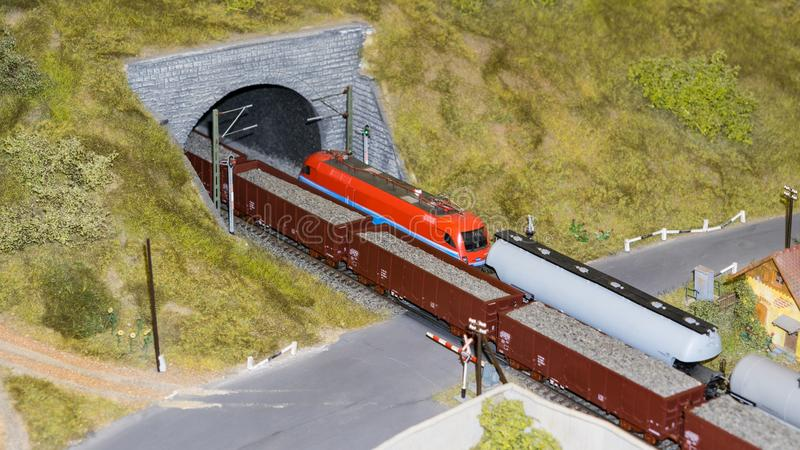 Budapest, Hungary - JUN 01, 2018: Miniversum Exposition - Miniature model trains passing through the tunnel stock images