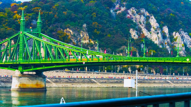 Budapest, Hungary - MAI 01, 2019 : Chain bridge on Danube river in Budapest city. Hungary. Urban landscape panorama with old stock image