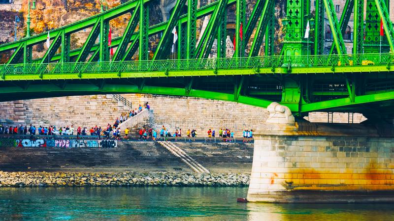 Budapest, Hungary - MAI 01, 2019 : Chain bridge on Danube river in Budapest city. Hungary. Urban landscape panorama with old royalty free stock image