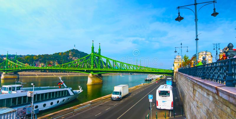 Budapest, Hungary - MAI 01, 2019 : Chain bridge on Danube river in Budapest city. Hungary. Urban landscape panorama with old royalty free stock images