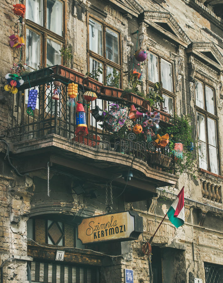 BUDAPEST, HUNGARY - MARCH 26, 2017: balcony in building. BUDAPEST, HUNGARY - MARCH 26, 2017: Kazinczy Street and facade of the most popular ruin pub of Budapest royalty free stock photography