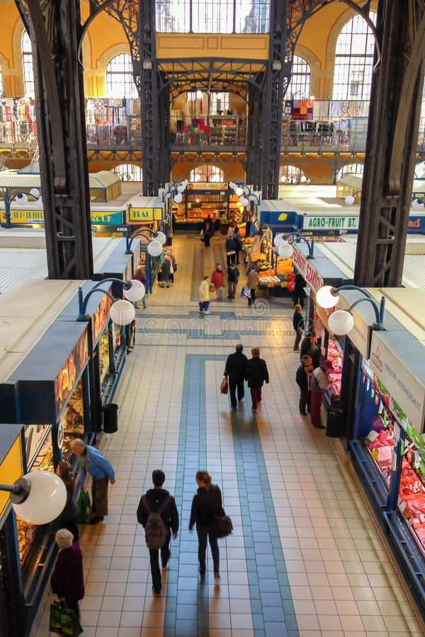 Interiors of Central Market Hall of Budapest, Hungary royalty free stock photos