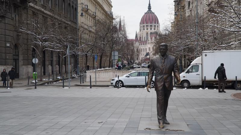 Statue of U.S. President Ronald Reagan in Budapest, Hungary. stock photos