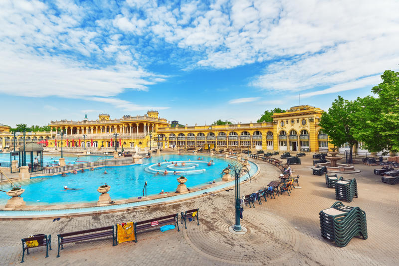BUDAPEST, HUNGARY- MAY 05,2016: Courtyard of Szechenyi Baths, Hungarian thermal bath complex and spa treatments. royalty free stock image