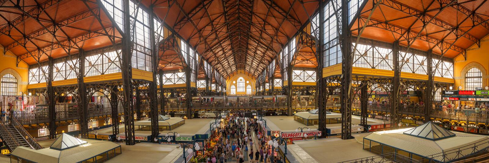 Inside the Central Market of Budapest, a major tourist attraction royalty free stock photography