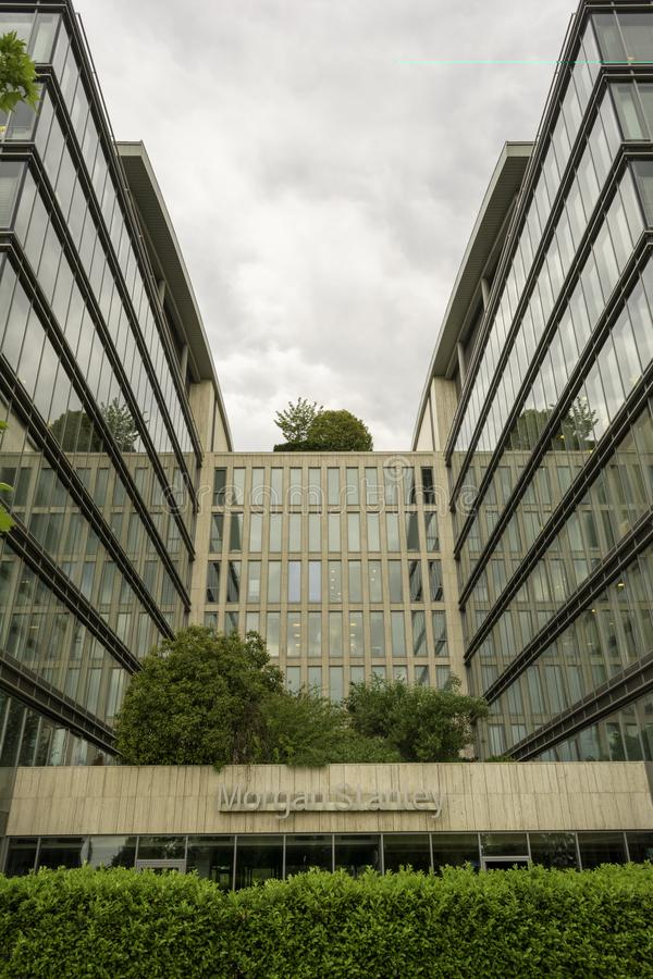 BUDAPEST, HUNGARY - MAY 17, 2018: Morgan Stanley sign on facade of an office building. Morgan Stanley is an american stock photos