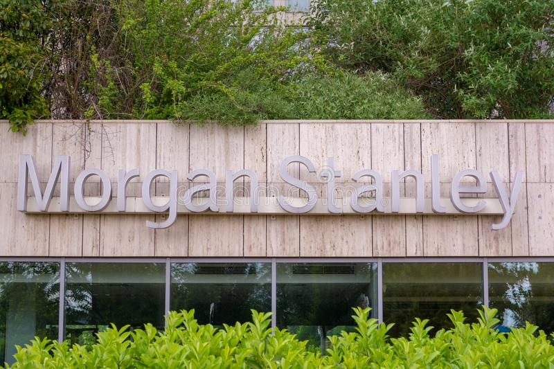 BUDAPEST, HUNGARY - MAY 17, 2018: Morgan Stanley sign on facade of an office building. Morgan Stanley is an american royalty free stock photos