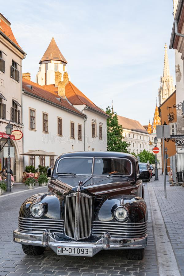 Budapest, Hungary - May 2019: Old soviet luxury limousine ZIS-110 on the street of Buda.  stock images
