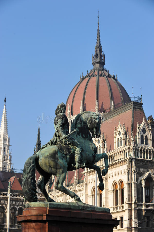 Budapest, Hungary. The neo-gothic Hungarian Parliament building front entrance, designed by Imre Steindl, with an equestrian statue of Ferenc Rakoczi II in royalty free stock images