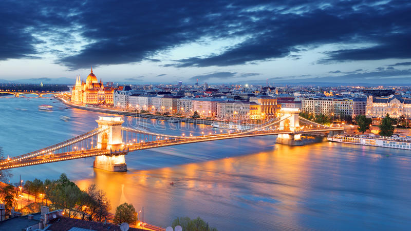 Budapest, Hungary. At a night royalty free stock photos