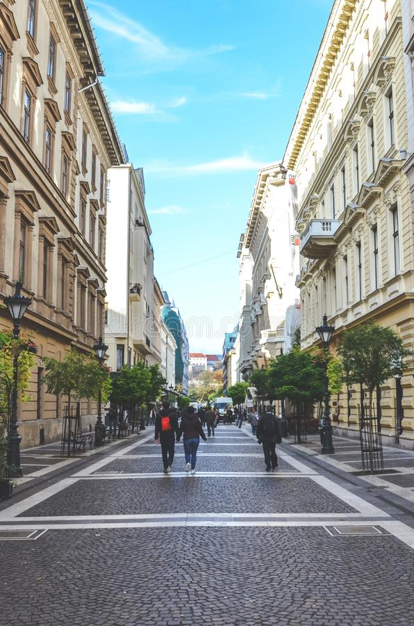 Free Budapest, Hungary - Nov 6, 2019: Zrinyi Street In The Old Town Of The Hungarian Capital City. Pedestrian Zone Leading From The Royalty Free Stock Image - 164198796