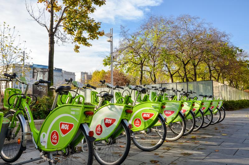 Budapest, Hungary - Nov 6, 2019: Public green bicycles to rent in the center of the Hungarian city. Bike-sharing. Ecological means royalty free stock photos