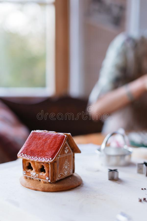 Budapest, Hungary - October 19, 2109: Traditional home-made gingerbread baking. Assembled and decorated gingerbread house stock image