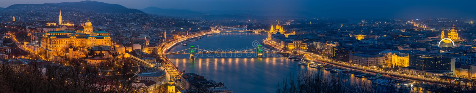 Budapest, Hungary - Panoramic skyline view of Budapest with Historic Royal Palace stock photo