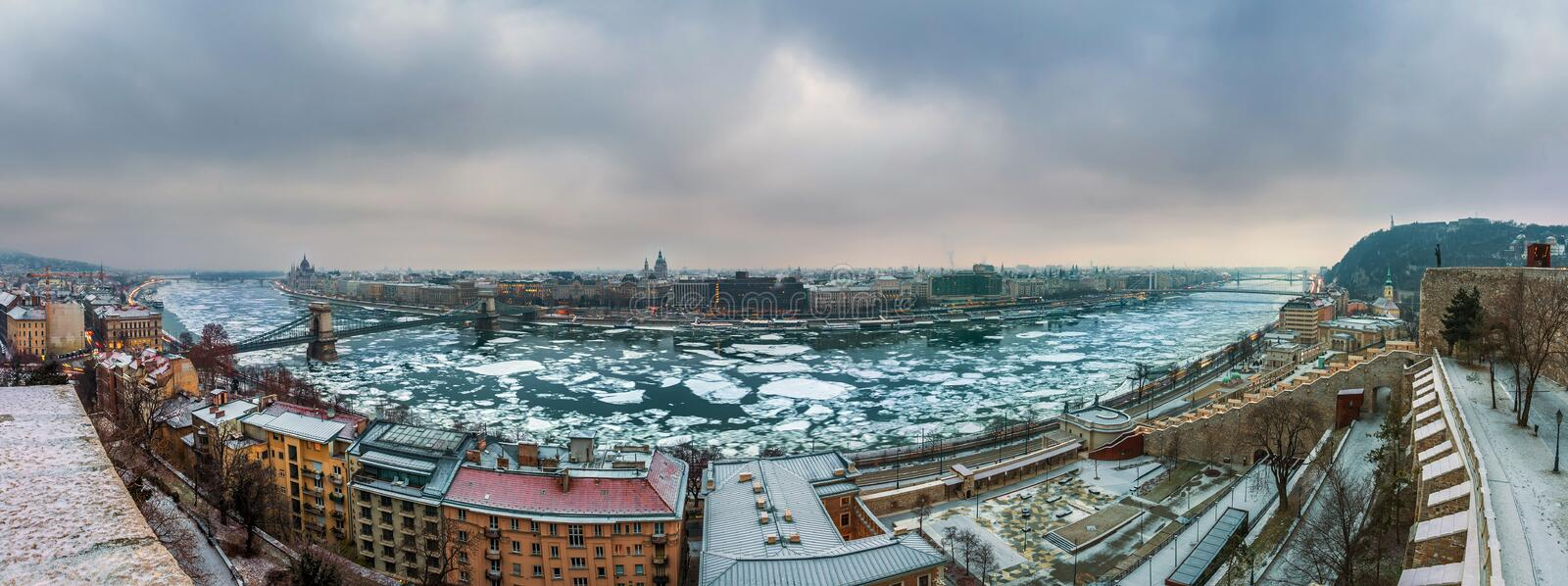 Budapest, Hungary - Panoramic skyline view of Budapest with the icy River Danube and Chain Bridge and other landmarks. Taken from the Buda Castle Royal Palace stock photos