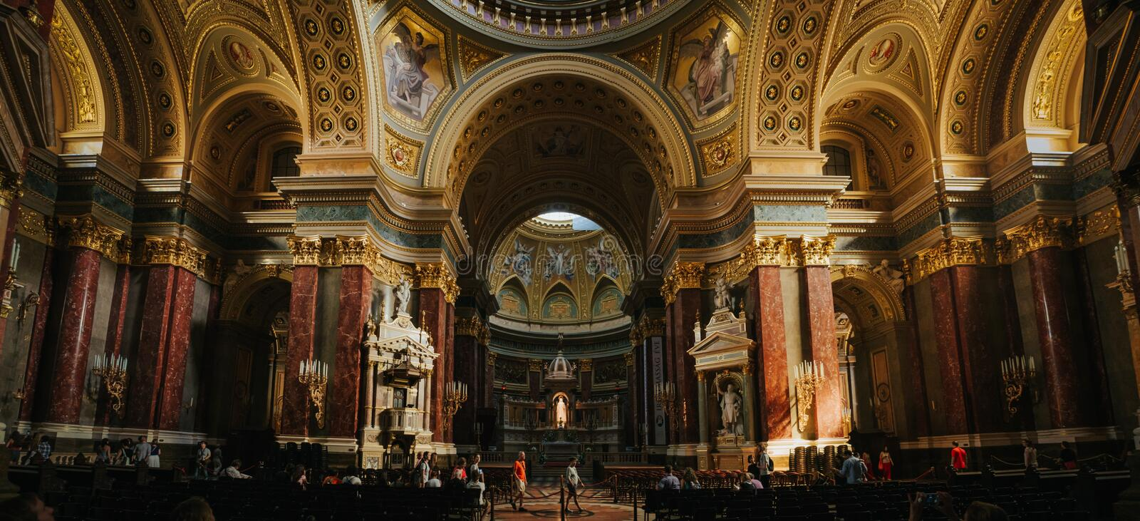 BUDAPEST, HUNGARY - SEPTEMBER 16, 2016: People visit historic church - St. Stephen Basilica. It is named in honor of Stephen (. Istvan) - first King of Hungary stock photo