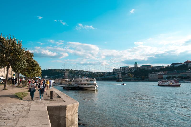 Budapest, Hungary. September 2019. Tourists taking photos of Shoes on the Danube stock photo