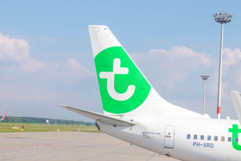 Budapest/Hungary-05 09 18: Transavia lota lowcost samolot uskrzydla loga obraz stock