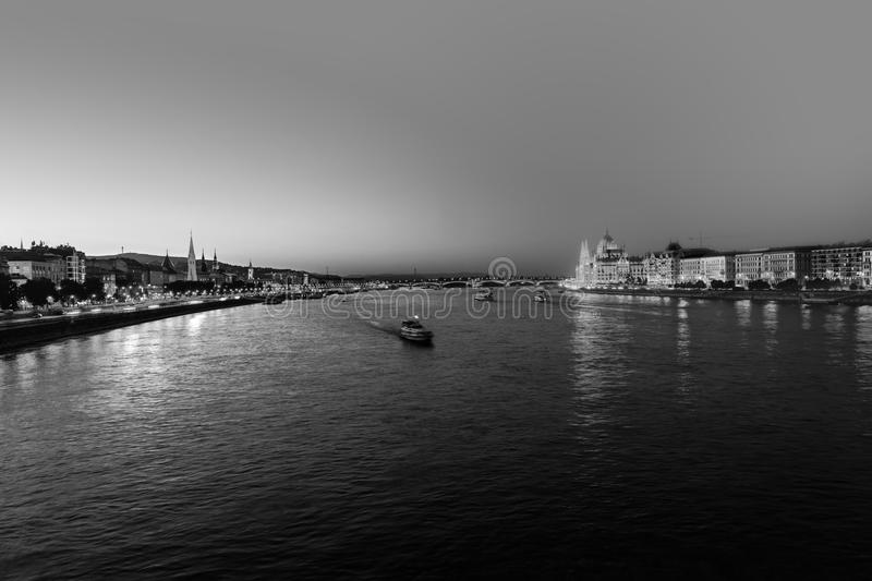 A view over the river Danube in Budapest, Hungary, on a warm summer night. Black and white. Budapest, Hungary. A view over the river Danube in Budapest, Hungary royalty free stock image