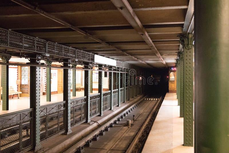 Budapest Hungary vintage old metro train stop underground stock photo