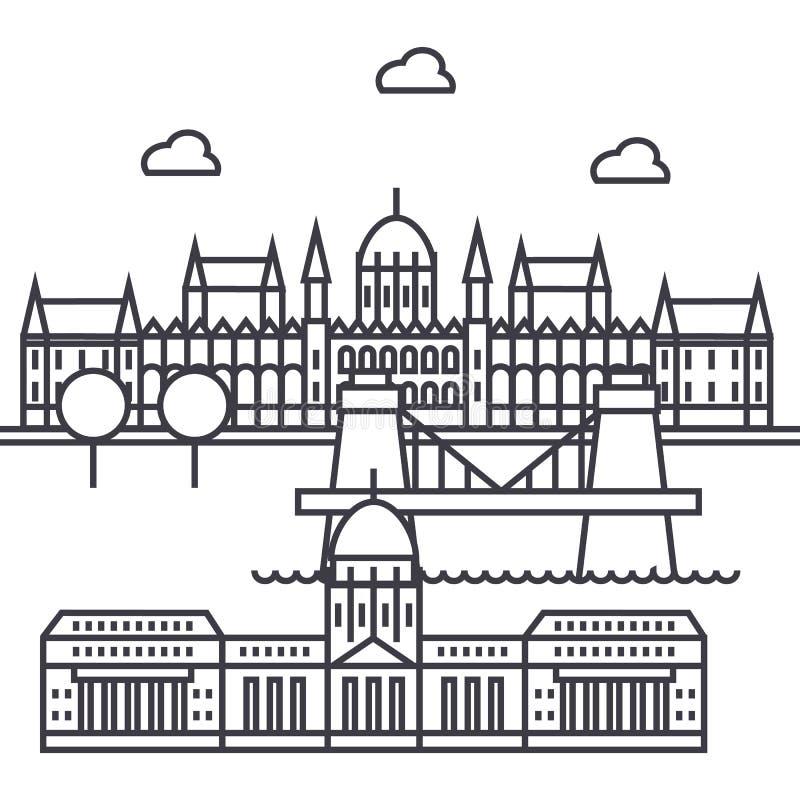 Budapest, Hungary wektor linii ikona, znak, ilustracja na tle, editable uderzenia ilustracja wektor