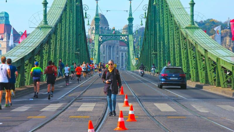 Budapest, Hungría - el AMI 01, 2019: Opinión del pájaro del hÃd de Elizabeth BridgeErzsébet durante verano imagen de archivo libre de regalías