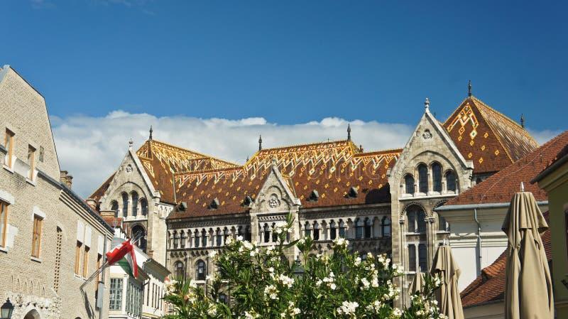 Budapest Hungria - 17 07 2015: Telhado de uma casa na rua em Buda, arquitetura bonita, dia ensolarado fotos de stock