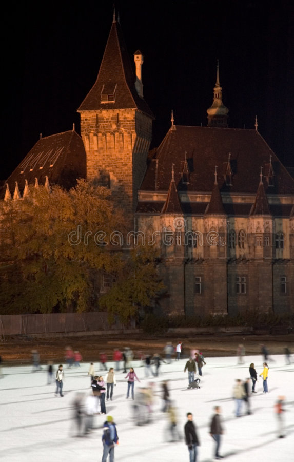 Budapest iceskating. Iceskating infront of castle in Budapest