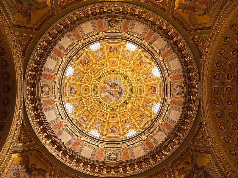 Budapest, interior of the Saint Stephen Basilica stock photos