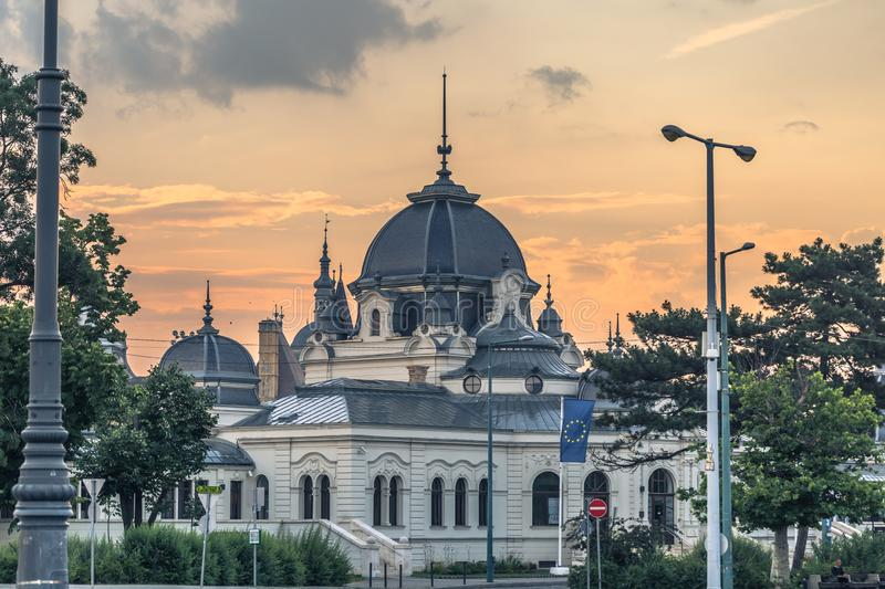 Budapest - June 21, 2019: Old historical building seen from Heroes Square in Budapest, Hungary royalty free stock image