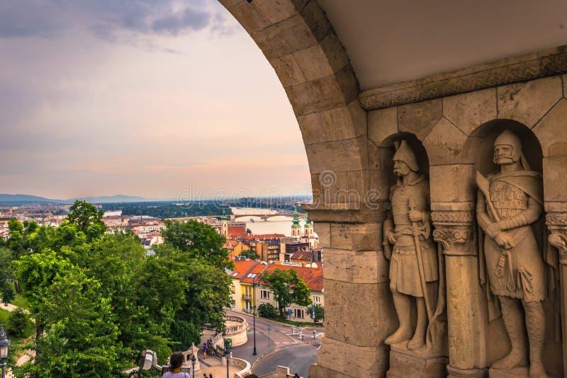 Budapest - Juni 22, 2019: Fiskares bastion i den Buda sidan av Budapest, Ungern arkivfoton